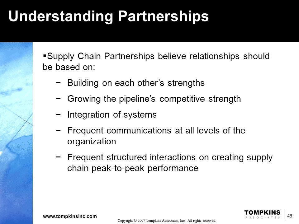 48 www.tompkinsinc.com 48 Copyright © 2007 Tompkins Associates, Inc. All rights reserved. Understanding Partnerships  Supply Chain Partnerships belie