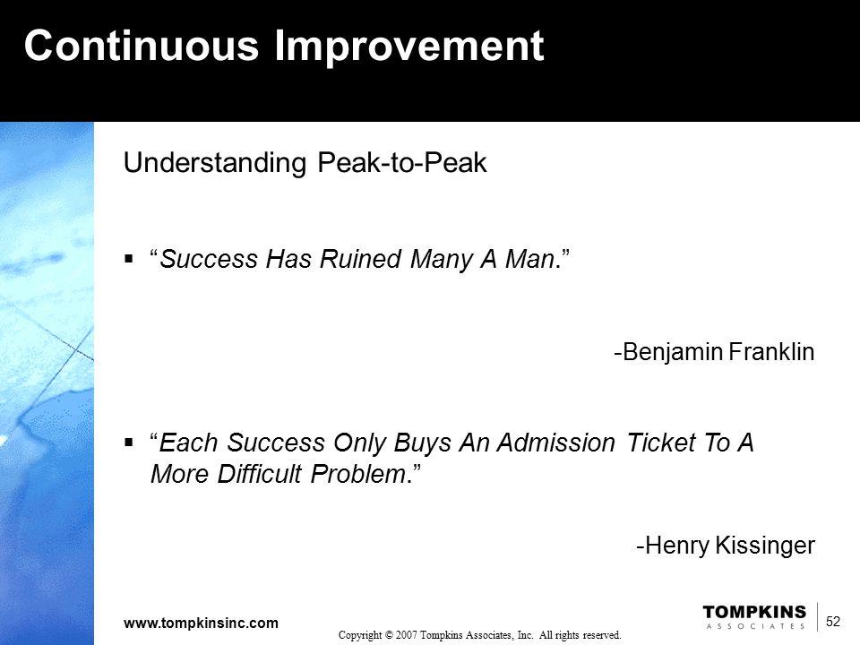 "52 www.tompkinsinc.com 52 Copyright © 2007 Tompkins Associates, Inc. All rights reserved. Understanding Peak-to-Peak  ""Success Has Ruined Many A Man."