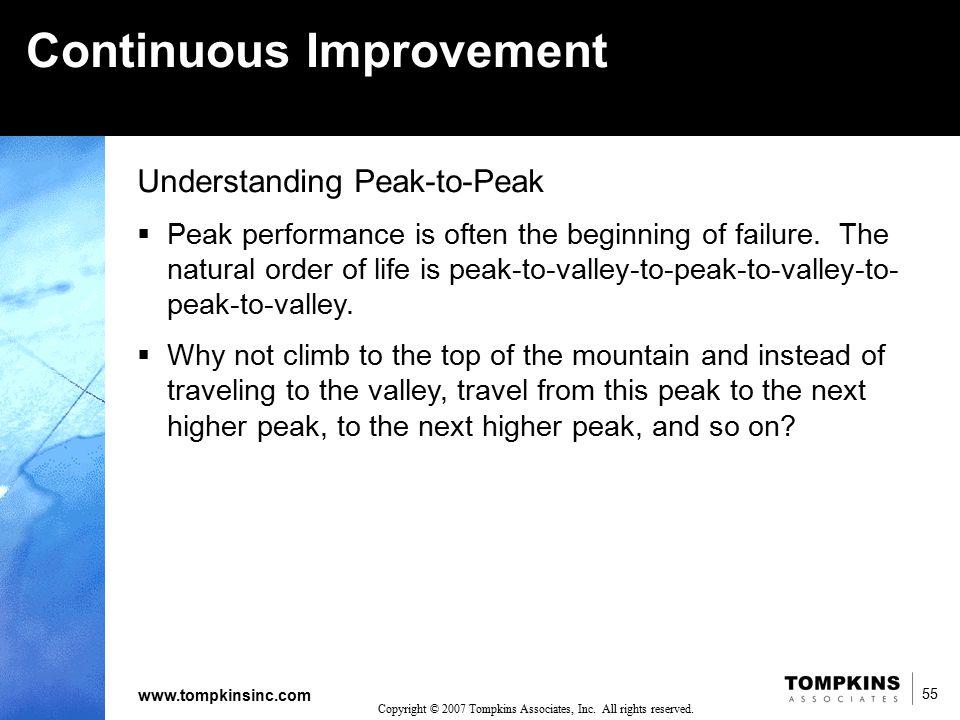 55 www.tompkinsinc.com 55 Copyright © 2007 Tompkins Associates, Inc. All rights reserved. Understanding Peak-to-Peak  Peak performance is often the b
