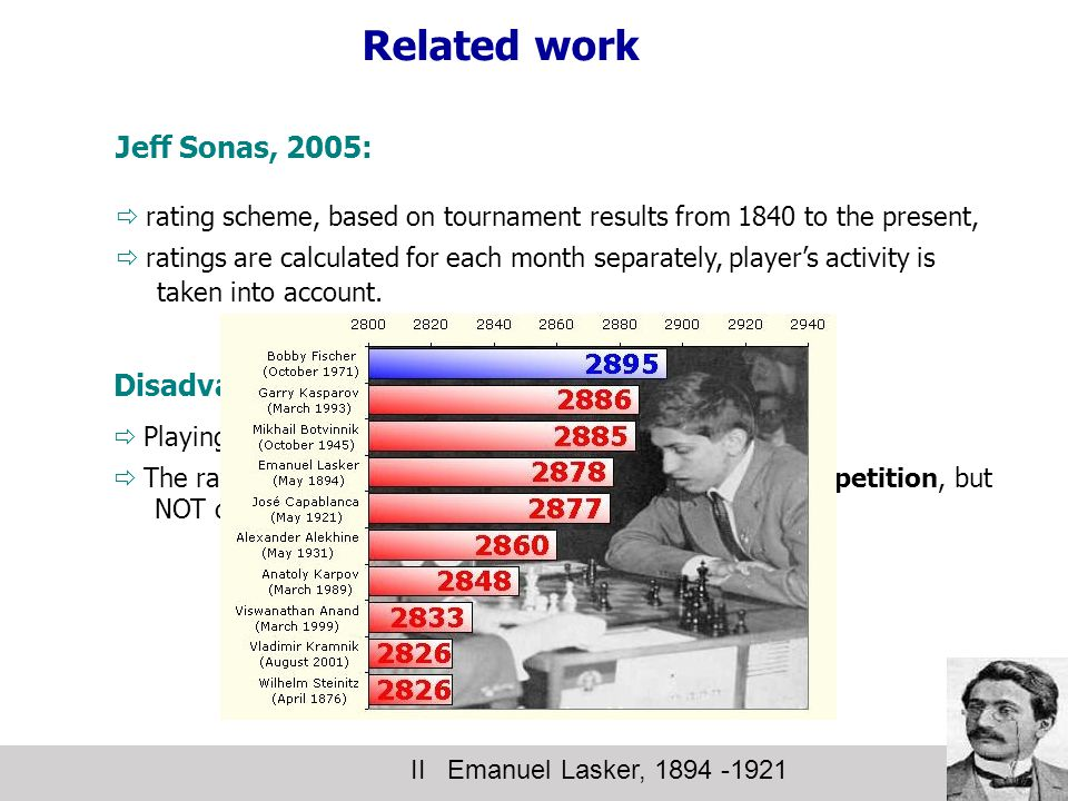 Related work II Emanuel Lasker, 1894 -1921 Jeff Sonas, 2005:  rating scheme, based on tournament results from 1840 to the present,  ratings are calculated for each month separately, player's activity is taken into account.