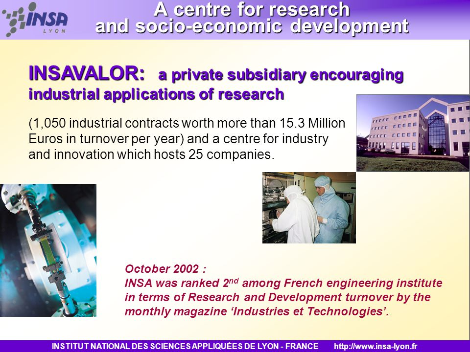INSTITUT NATIONAL DES SCIENCES APPLIQUÉES DE LYON - FRANCEhttp://www.insa-lyon.fr October 2002 : INSA was ranked 2 nd among French engineering institu