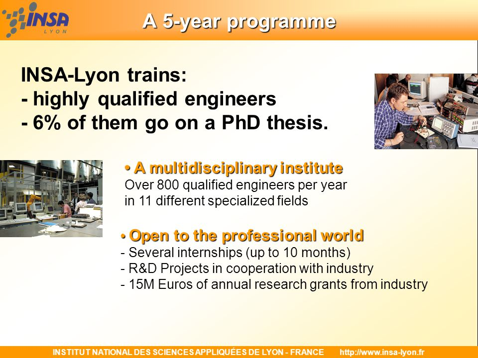INSTITUT NATIONAL DES SCIENCES APPLIQUÉES DE LYON - FRANCEhttp://www.insa-lyon.fr A 5-year programme Multi-skilled training integrating Science, Technology, Art, Culture and Management Multi-skilled training integrating Science, Technology, Art, Culture and Management - a Humanities Center, a sport center - Art Studies sections (music, dance, theatre, plastic arts) - an Engineer-Entrepreneur section - A High-Level Sports section - 100 student clubs and associations