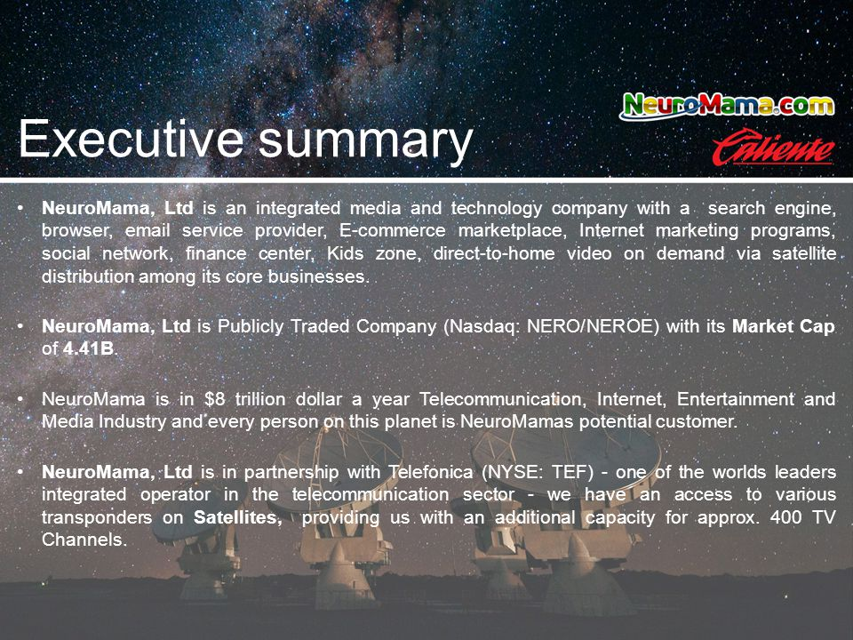 Executive summary NeuroMama, Ltd is an integrated media and technology company with a search engine, browser, email service provider, E-commerce marke