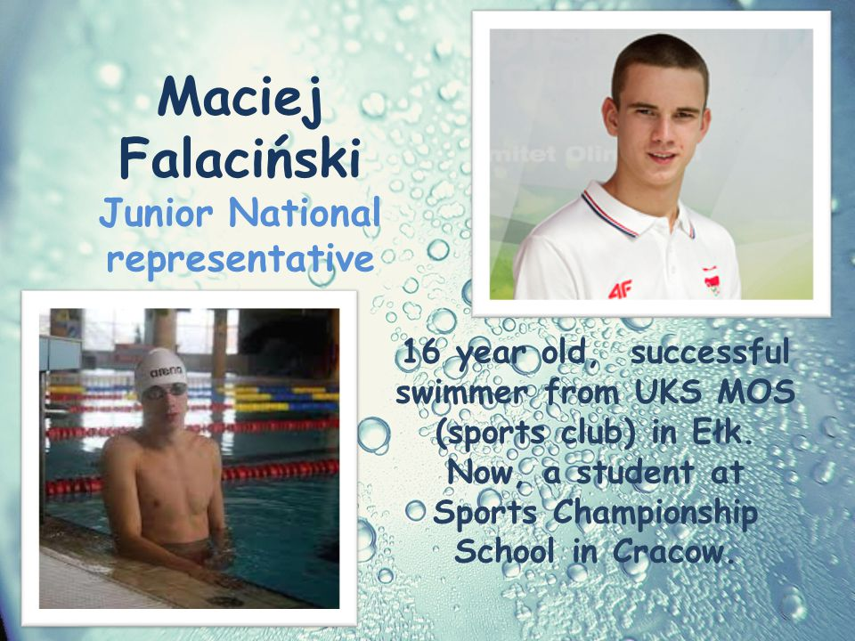 16 year old, successful swimmer from UKS MOS (sports club) in Ełk.