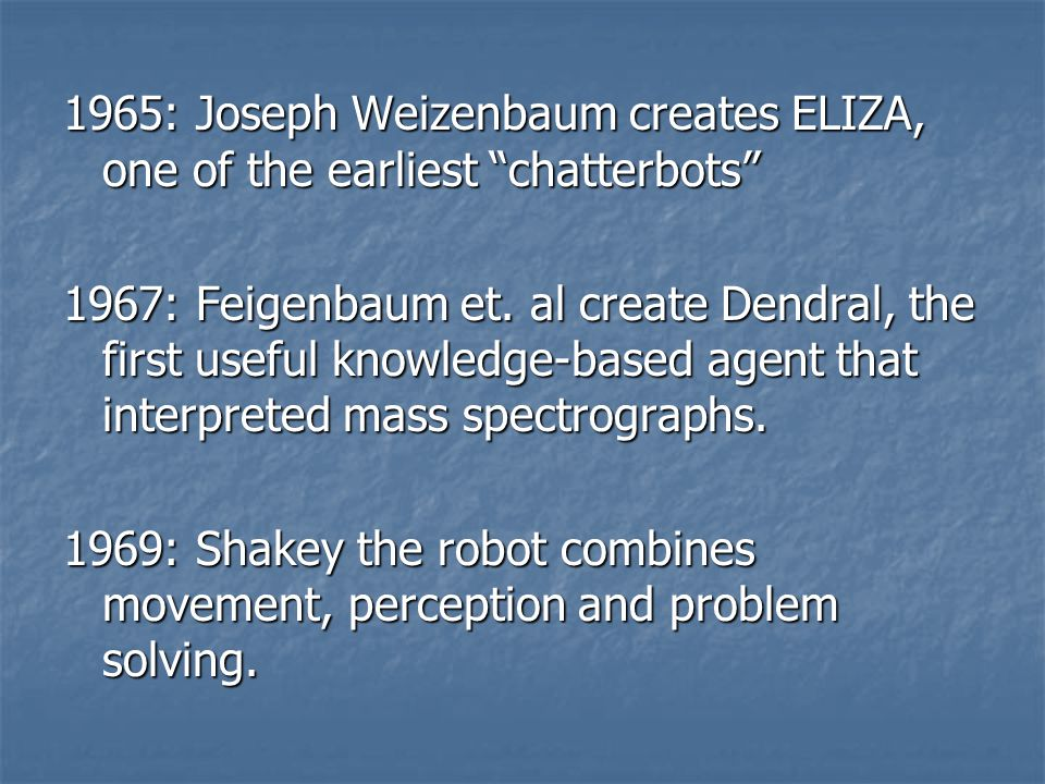 1965: Joseph Weizenbaum creates ELIZA, one of the earliest chatterbots 1967: Feigenbaum et.