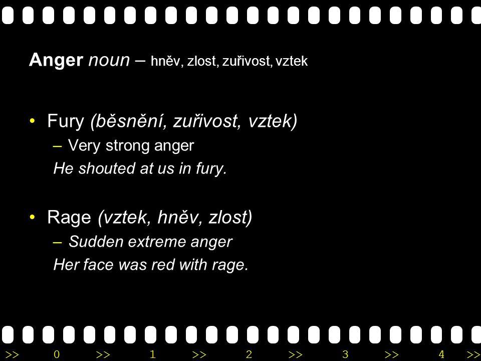 >>0 >>1 >> 2 >> 3 >> 4 >> Anger noun – hněv, zlost, zuřivost, vztek Fury (běsnění, zuřivost, vztek) –Very strong anger He shouted at us in fury. Rage