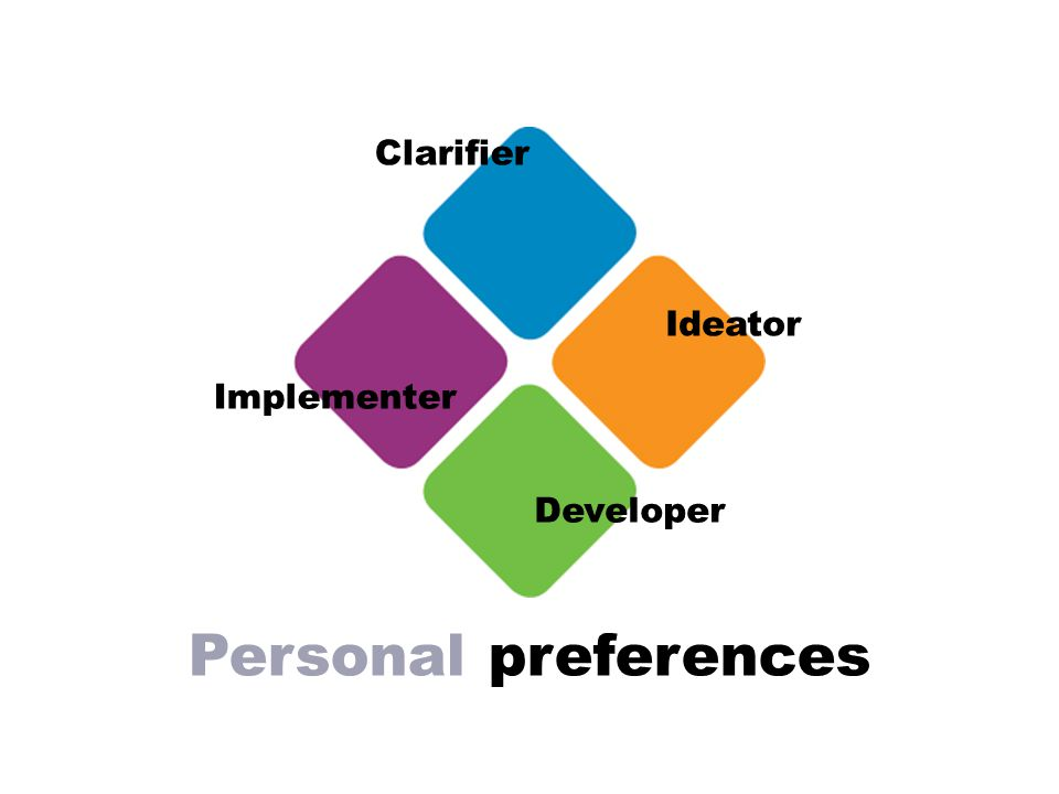 Personal preferences Ideator Clarifier Implementer Developer
