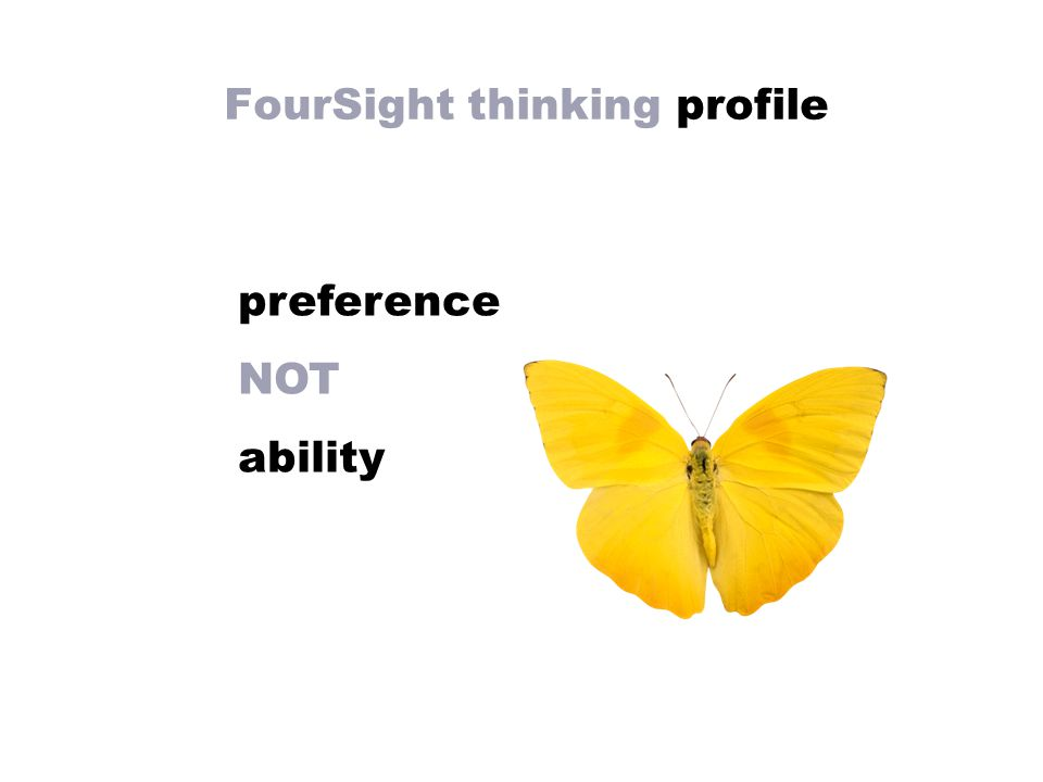 FourSight thinking profile preference NOT ability