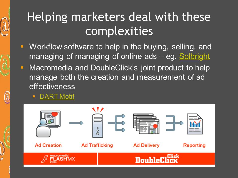 Helping marketers deal with these complexities  Workflow software to help in the buying, selling, and managing of managing of online ads – eg.