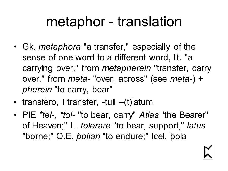 metaphor - translation Gk. metaphora