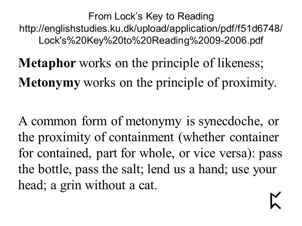From Lock's Key to Reading http://englishstudies.ku.dk/upload/application/pdf/f51d6748/ Lock s%20Key%20to%20Reading%2009-2006.pdf Metaphor works on the principle of likeness; Metonymy works on the principle of proximity.