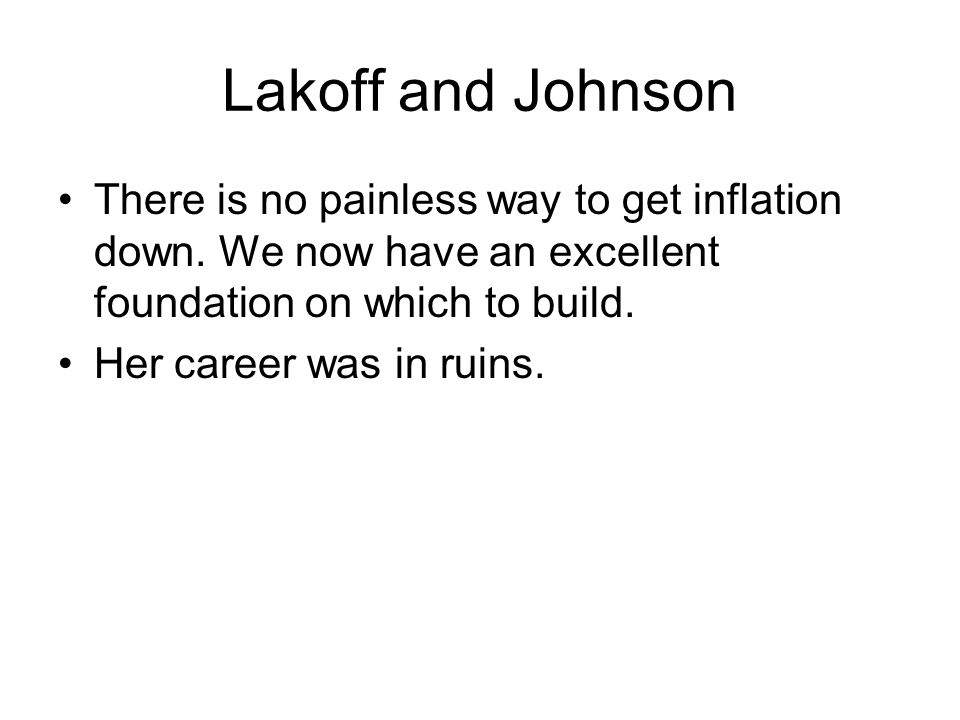 Lakoff and Johnson There is no painless way to get inflation down.