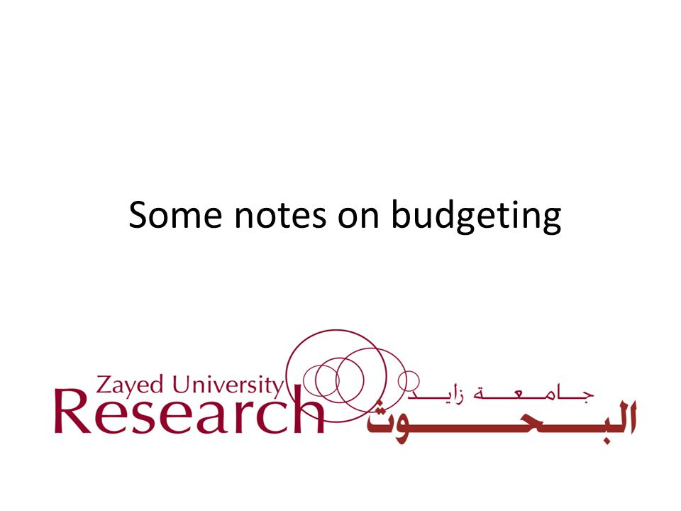 Some notes on budgeting