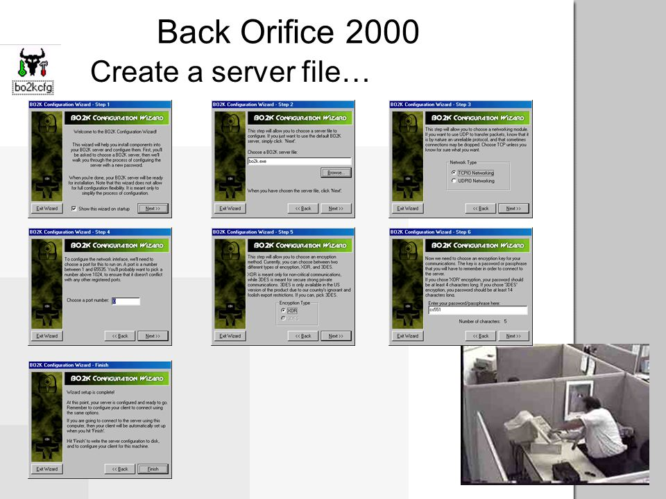 Back Orifice 2000 Malicious effects A malicious attacker can: Install the server on victim's machine Take over computer –Logging keystrokes –Rebooting