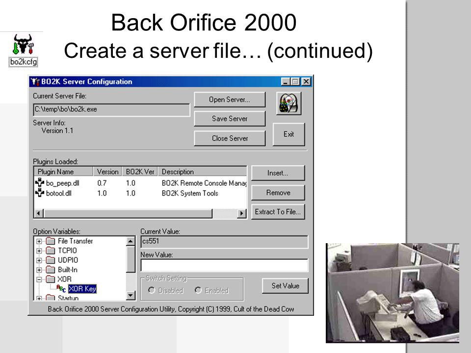 Create a server file… Back Orifice 2000