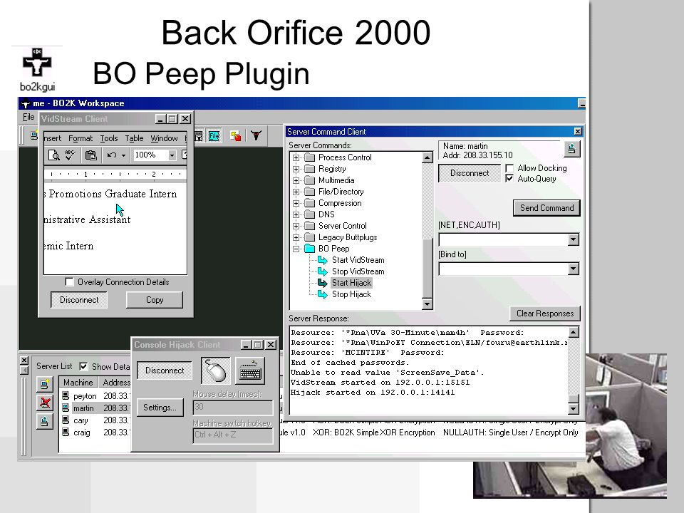 Back Orifice 2000 Plugins Encryption (AES, IDEA, RC6, Serpent) Communications Server Enhancement Client Enhancement