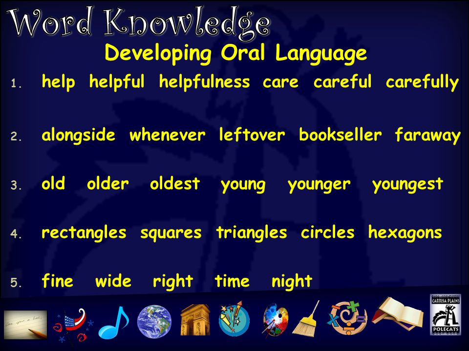 Developing Oral Language 1. help helpful helpfulness care careful carefully 2.