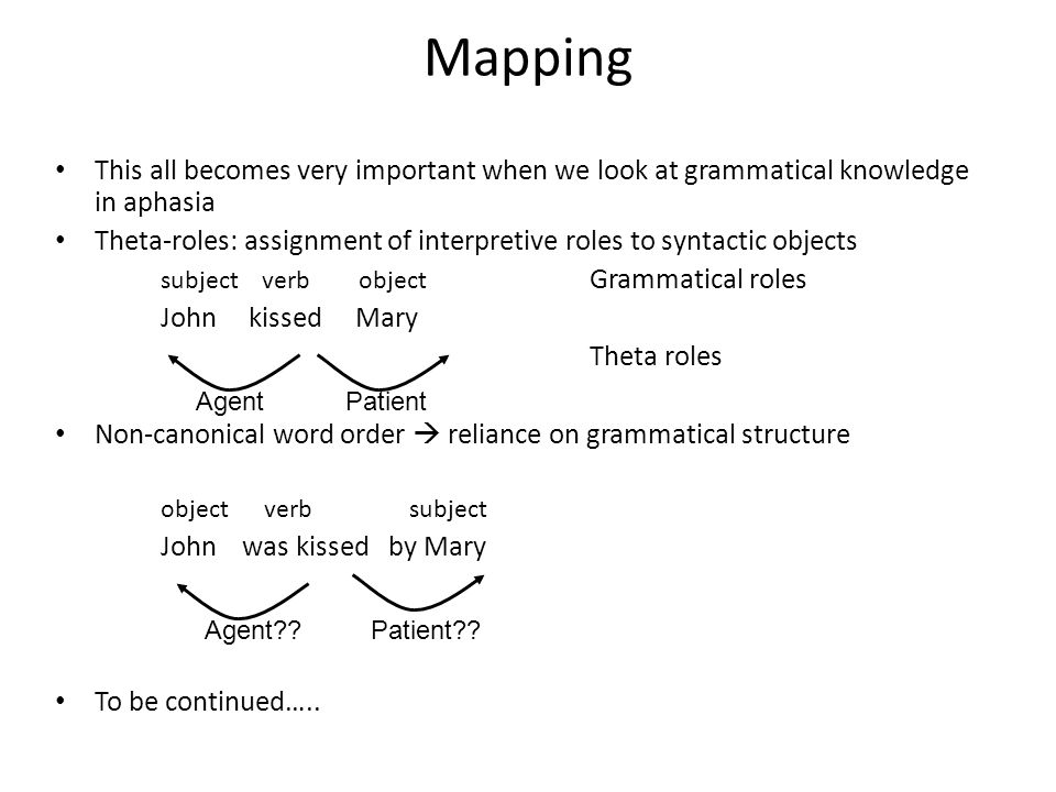 Mapping This all becomes very important when we look at grammatical knowledge in aphasia Theta-roles: assignment of interpretive roles to syntactic ob