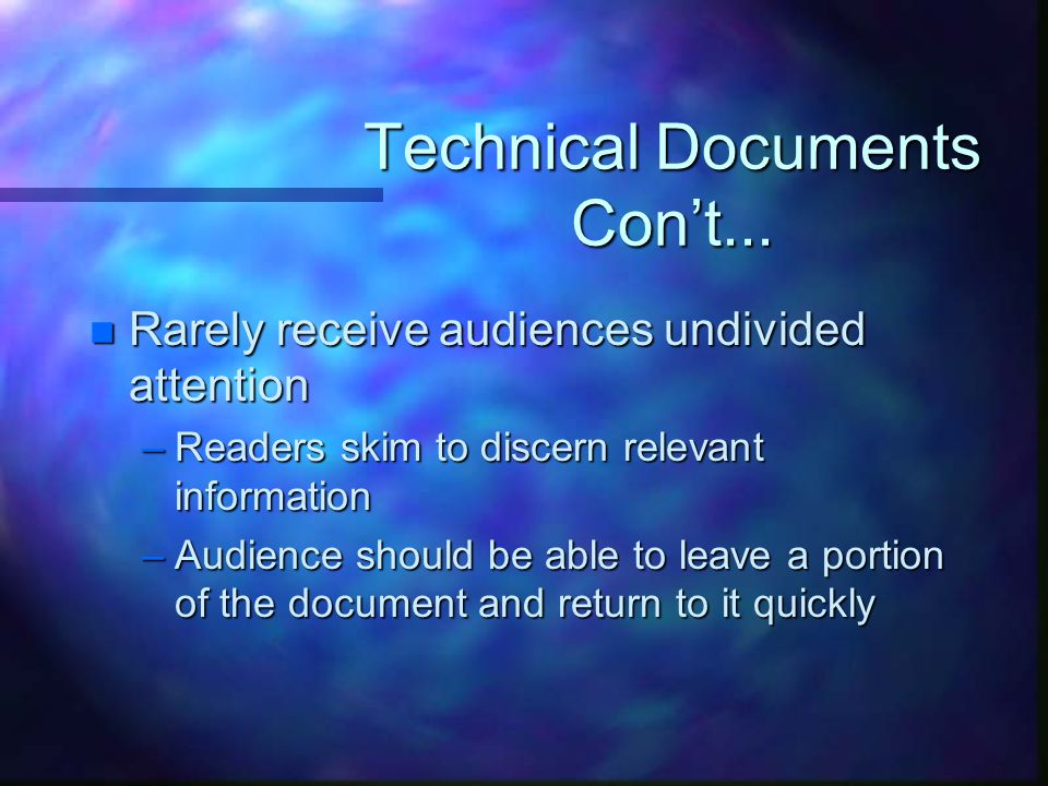 Technical Documents Con't...