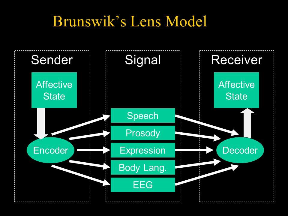 Encoder SenderReceiver Speech Prosody Expression Body Lang. EEG Decoding Affective State Affective State Signal Brunswik's Lens Model Decoder