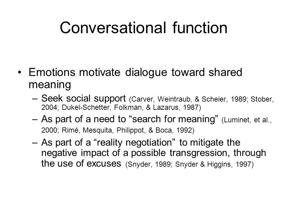 Emotions motivate dialogue toward shared meaning –Seek social support (Carver, Weintraub, & Scheier, 1989; Stober, 2004; Dukel-Schetter, Folkman, & La
