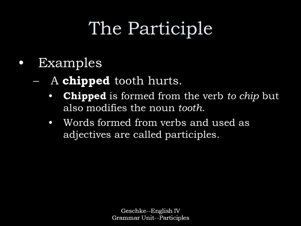 Geschke--English IV Grammar Unit--Participles Types of Participles There are two types of participles –Present Participle –Past Participle