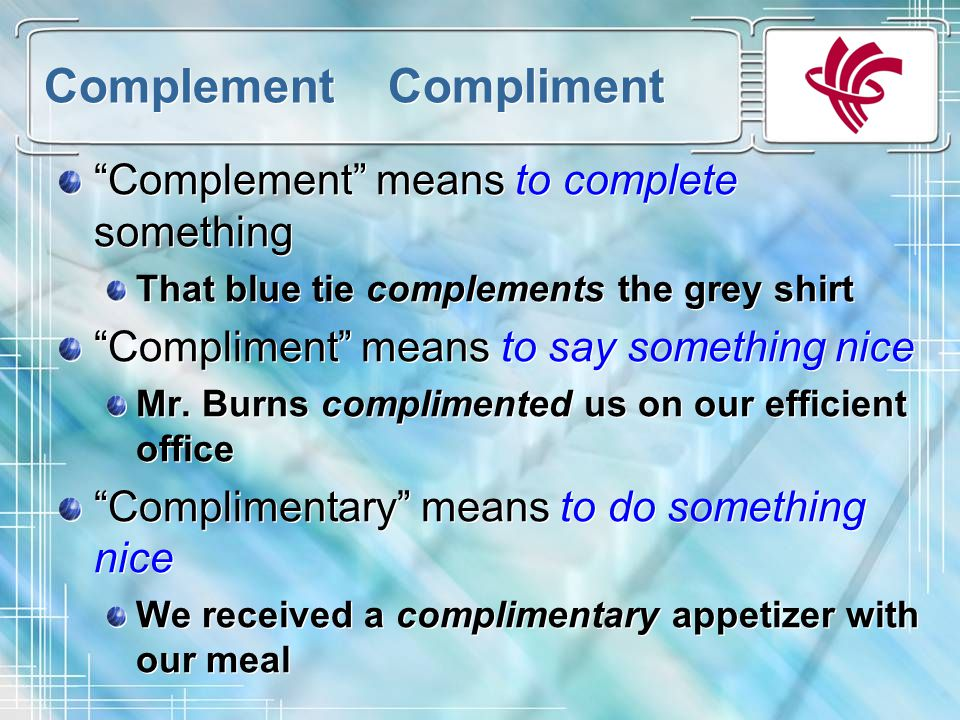 compliment or complement