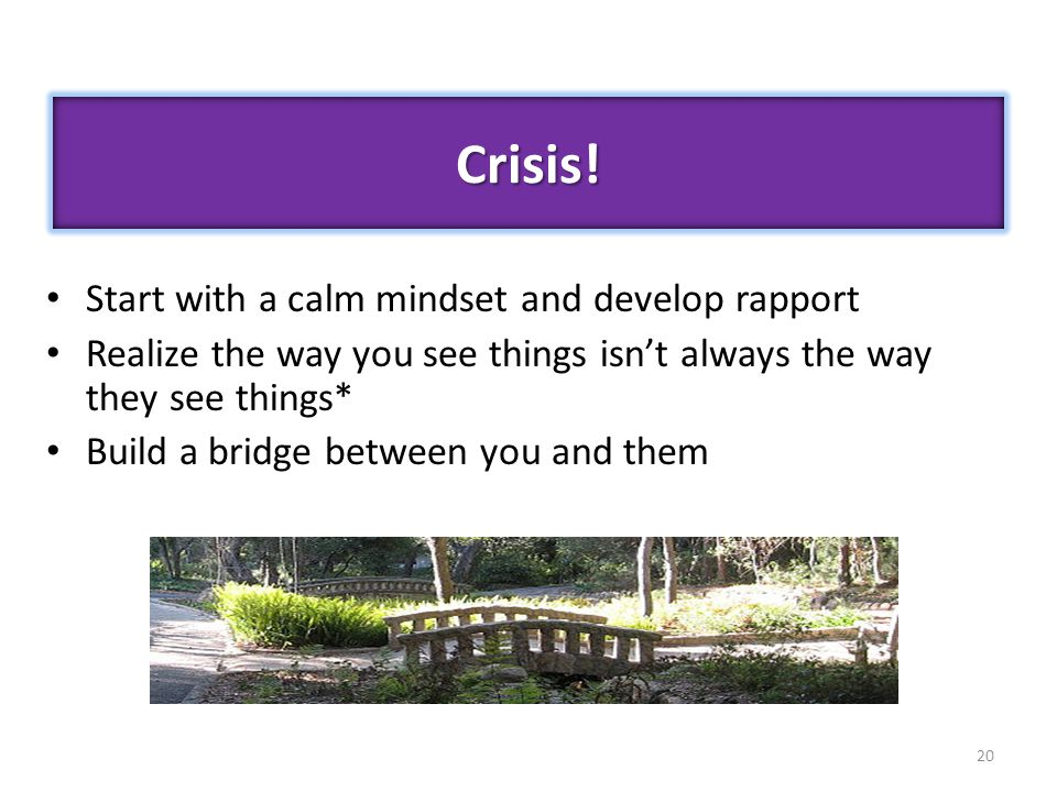 20 Start with a calm mindset and develop rapport Realize the way you see things isn't always the way they see things* Build a bridge between you and t