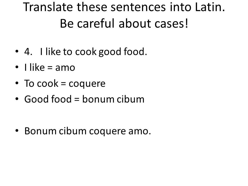 Translate these sentences into Latin.Be careful about cases.