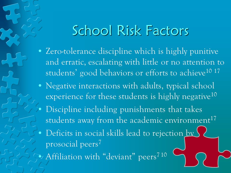 School Risk Factors Zero-tolerance discipline which is highly punitive and erratic, escalating with little or no attention to students' good behaviors or efforts to achieve 10 17 Negative interactions with adults, typical school experience for these students is highly negative 10 Discipline including punishments that takes students away from the academic environment 17 Deficits in social skills lead to rejection by prosocial peers 7 Affiliation with deviant peers 7 10
