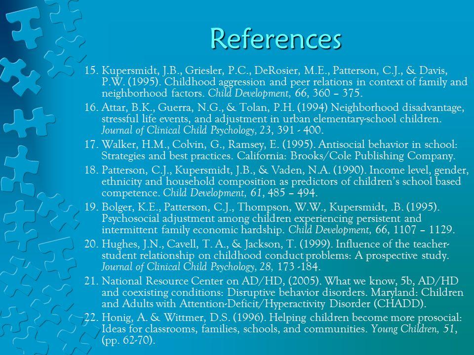 15. Kupersmidt, J.B., Griesler, P.C., DeRosier, M.E., Patterson, C.J., & Davis, P.W.