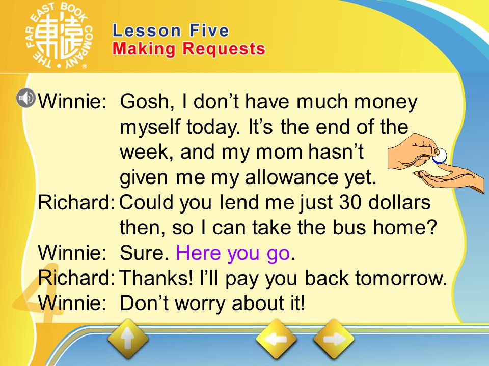 3. Richard is talking to his classmate Winnie.