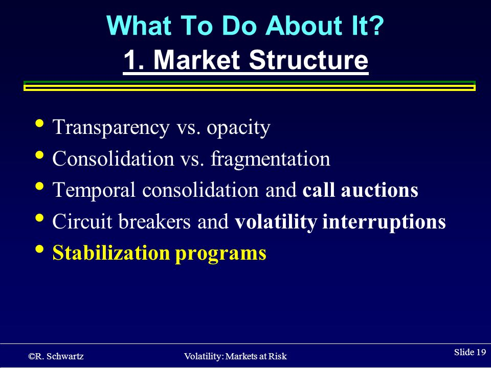 ©R. Schwartz Volatility: Markets at Risk Slide 19 What To Do About It.