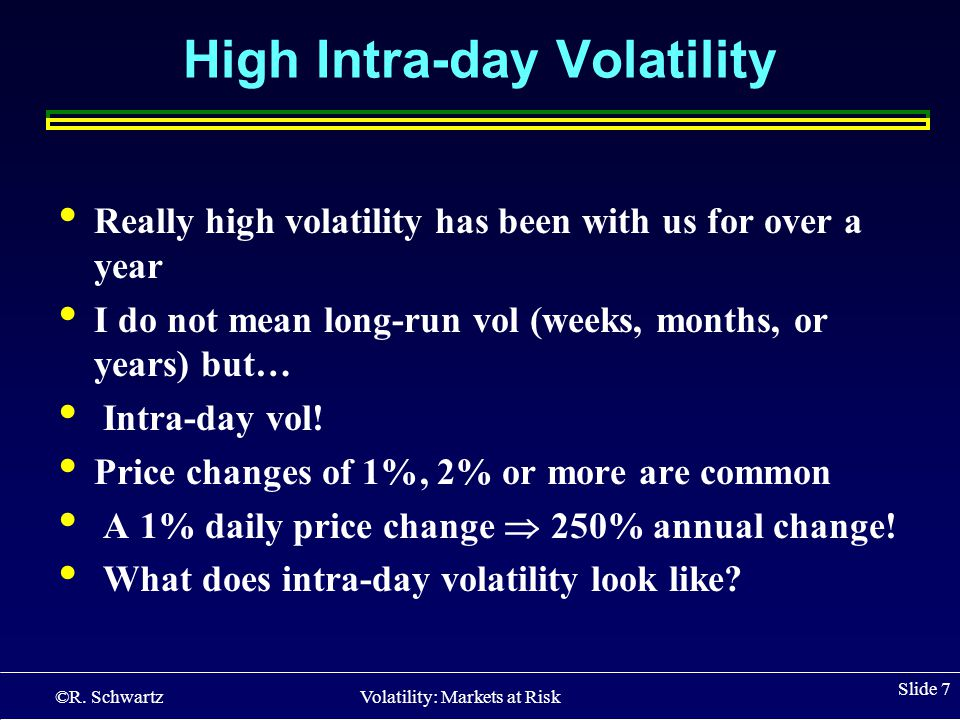 ©R. Schwartz Volatility: Markets at Risk Slide 7 High Intra-day Volatility Really high volatility has been with us for over a year I do not mean long-