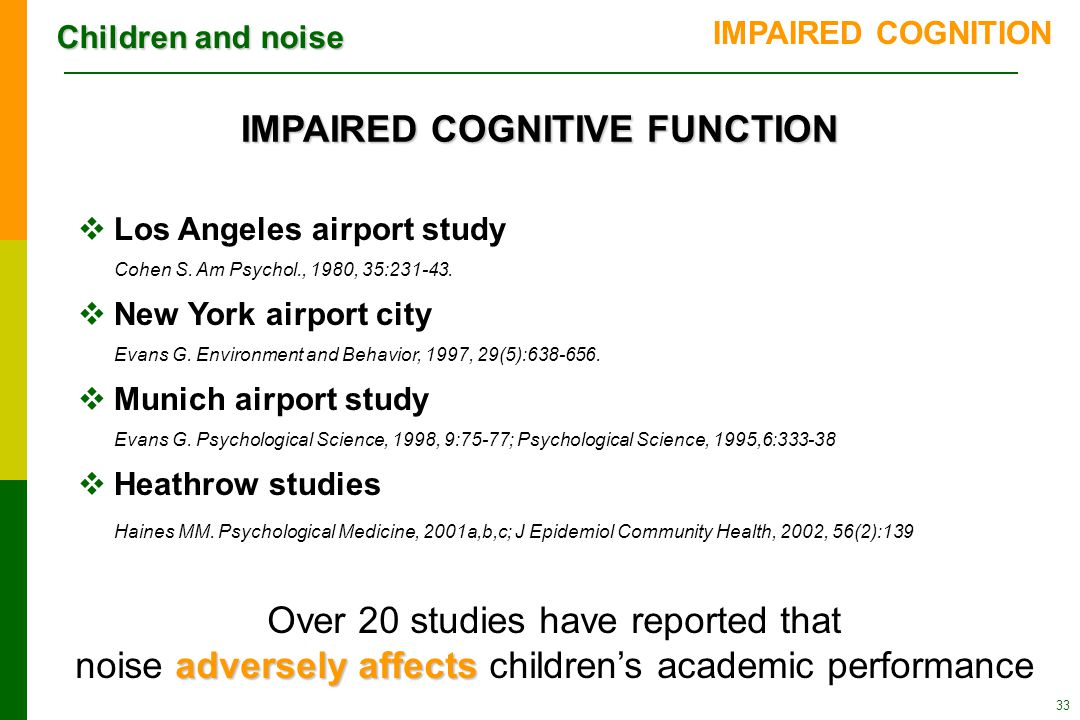 Children and noise 33  Los Angeles airport study Cohen S.
