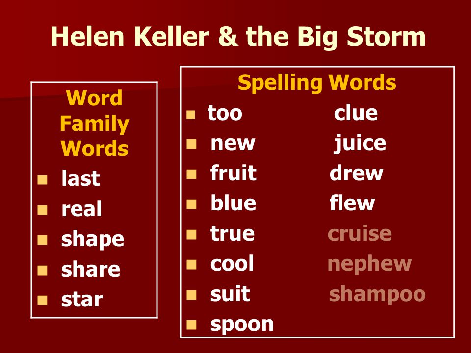 Helen Keller & the Big Storm Word Family Words last real shape share star Spelling Words too clue new juice fruit drew blue flew true cruise cool nephew suit shampoo spoon