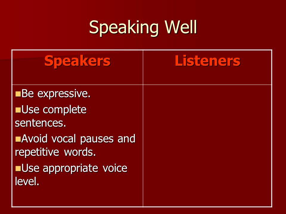 Speaking Well SpeakersListeners Be expressive. Be expressive.