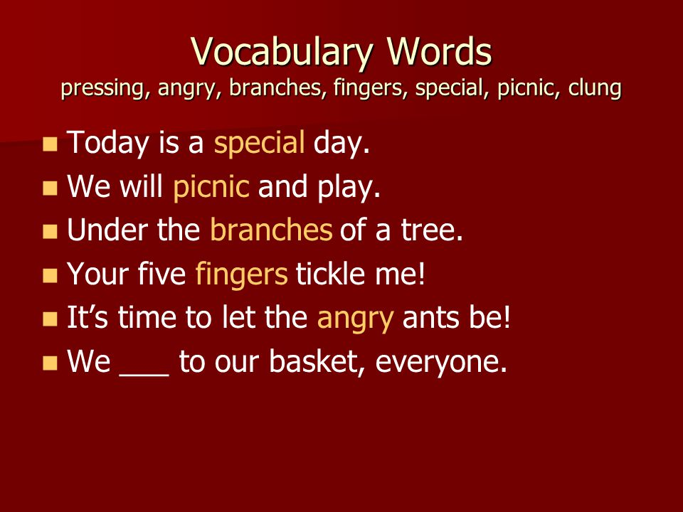 Vocabulary Words pressing, angry, branches, fingers, special, picnic, clung Today is a special day.
