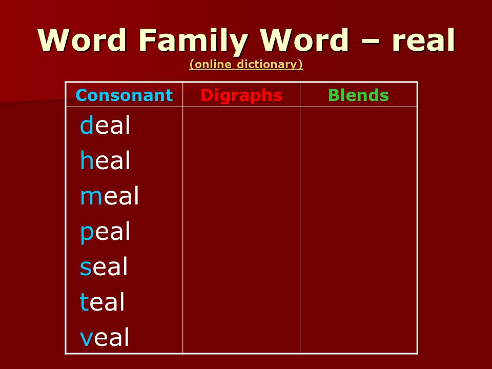 Word Family Word – real (online dictionary) (online dictionary) (online dictionary) ConsonantDigraphsBlends deal heal meal peal seal teal veal