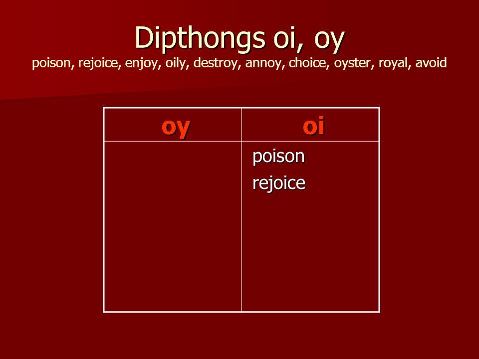 Dipthongs oi, oy Dipthongs oi, oy poison, rejoice, enjoy, oily, destroy, annoy, choice, oyster, royal, avoid oy oy oi oi poison poison rejoice rejoice