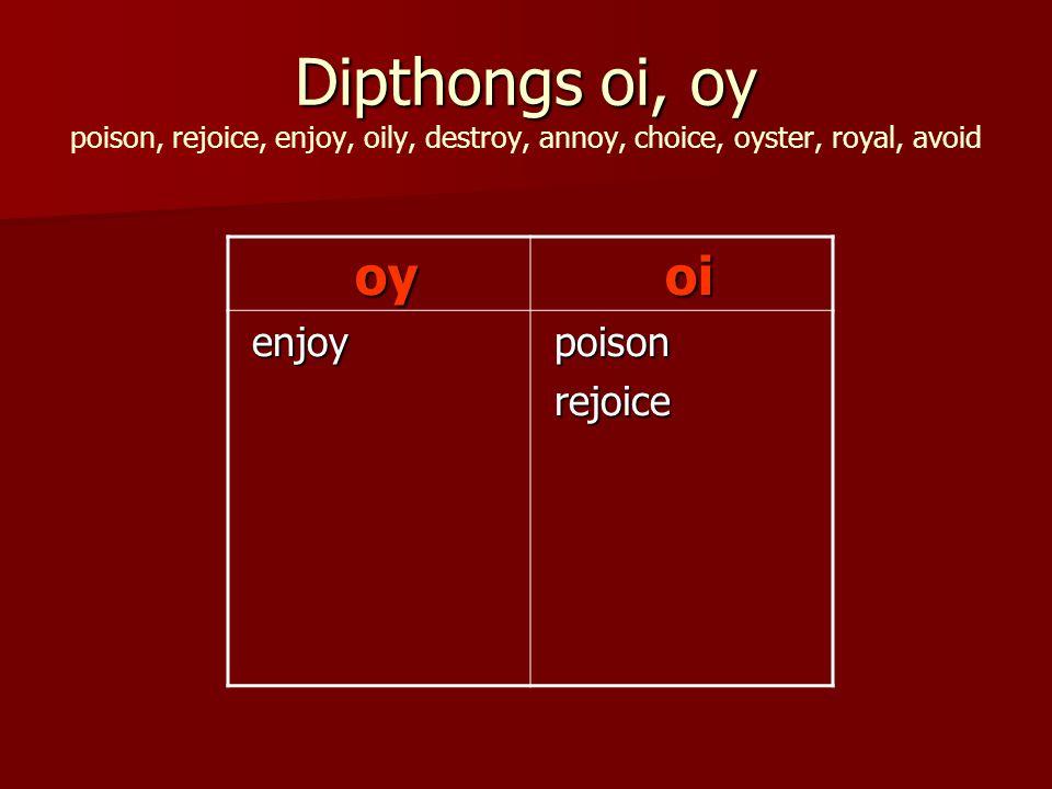 Dipthongs oi, oy Dipthongs oi, oy poison, rejoice, enjoy, oily, destroy, annoy, choice, oyster, royal, avoid oy oy oi oi enjoy enjoy poison poison rejoice rejoice
