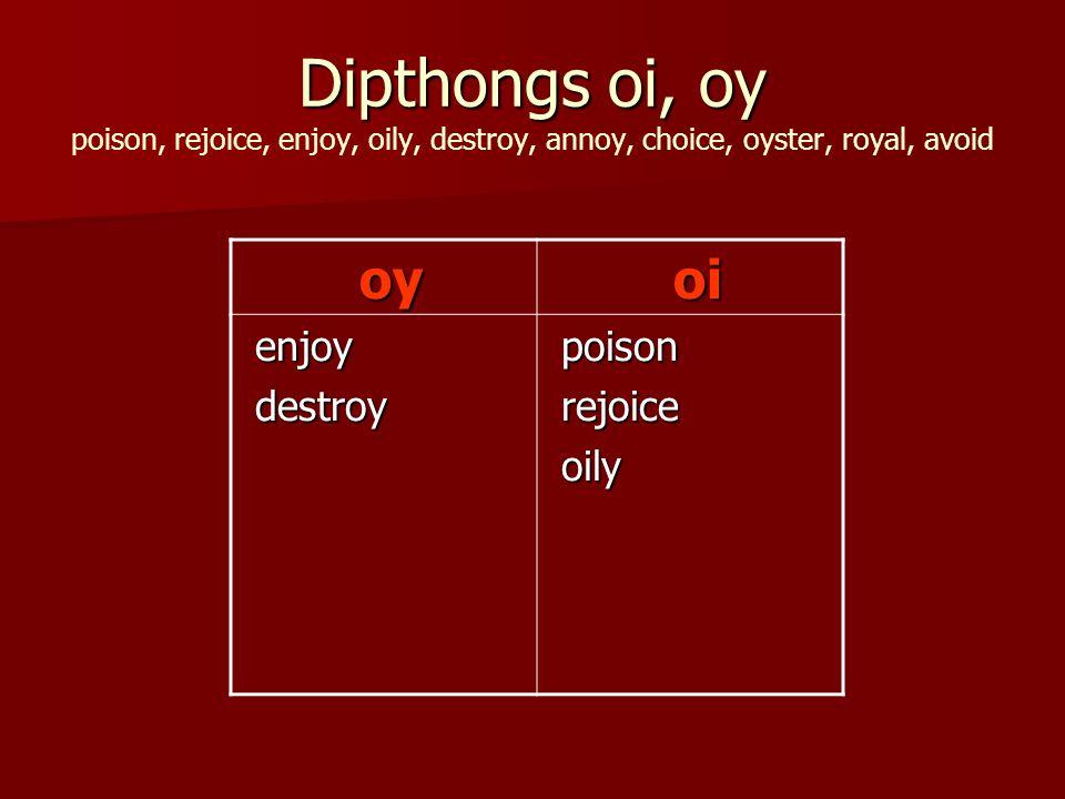 Dipthongs oi, oy Dipthongs oi, oy poison, rejoice, enjoy, oily, destroy, annoy, choice, oyster, royal, avoid oy oy oi oi enjoy enjoy destroy destroy poison poison rejoice rejoice oily oily