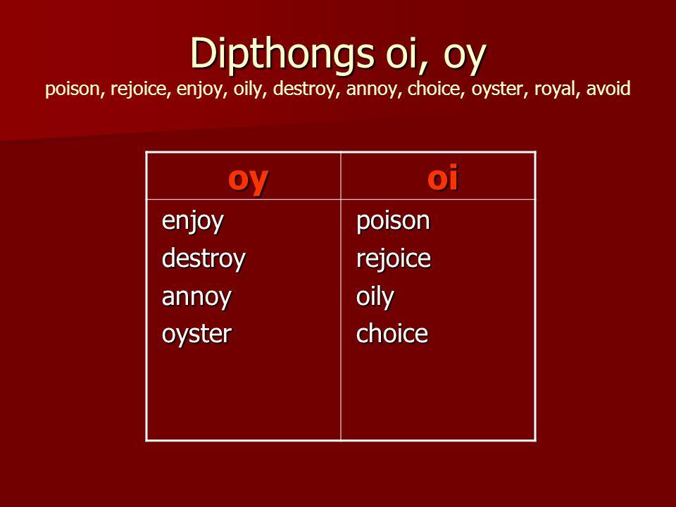 Dipthongs oi, oy Dipthongs oi, oy poison, rejoice, enjoy, oily, destroy, annoy, choice, oyster, royal, avoid oy oy oi oi enjoy enjoy destroy destroy annoy annoy oyster oyster poison poison rejoice rejoice oily oily choice choice