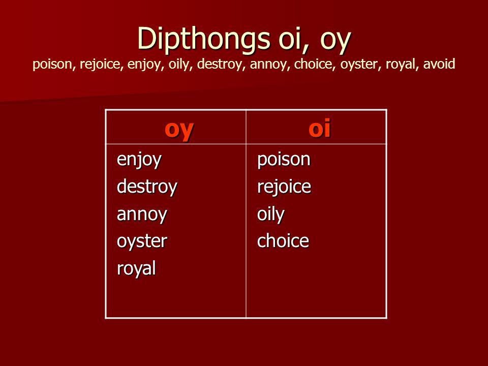 Dipthongs oi, oy Dipthongs oi, oy poison, rejoice, enjoy, oily, destroy, annoy, choice, oyster, royal, avoid oy oy oi oi enjoy enjoy destroy destroy annoy annoy oyster oyster royal royal poison poison rejoice rejoice oily oily choice choice