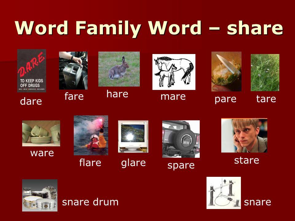 Word Family Word – share dare fare hare mare paretare ware flareglare spare stare snare drumsnare