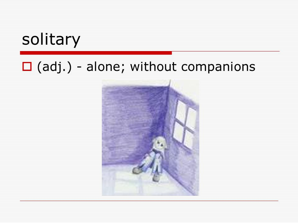 solitary  (adj.) - alone; without companions