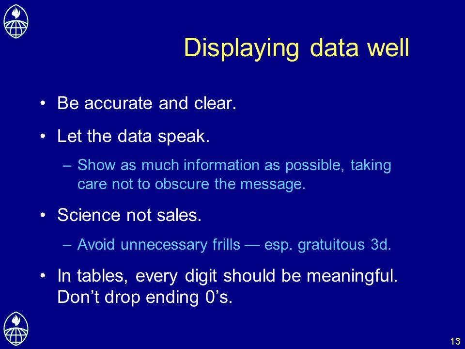 13 Displaying data well Be accurate and clear. Let the data speak. –Show as much information as possible, taking care not to obscure the message. Scie