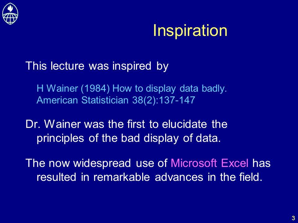 14 Further reading ER Tufte (1983) The visual display of quantitative information.