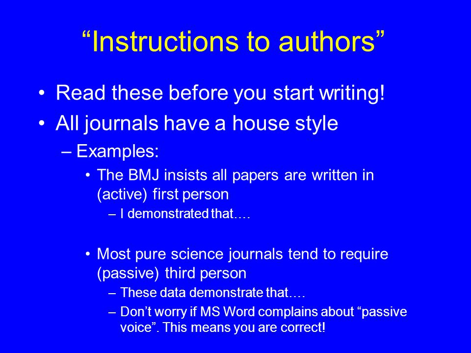 Instructions to authors Read these before you start writing.