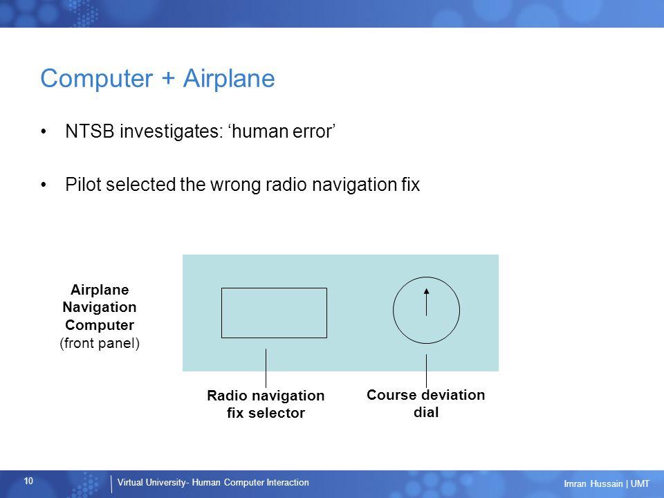 Virtual University- Human Computer Interaction 10 Imran Hussain | UMT Computer + Airplane NTSB investigates: 'human error' Pilot selected the wrong ra